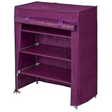 FUNIKA Non Woven Shoe Rack [22136] - Red/Purple - Rak Sepatu